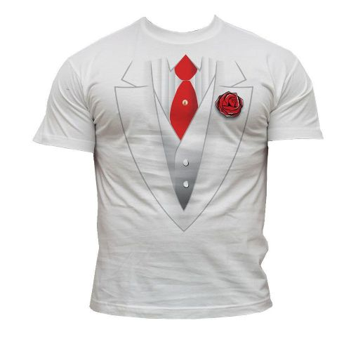 White Suit with Red Rose - Novelty T-Shirt